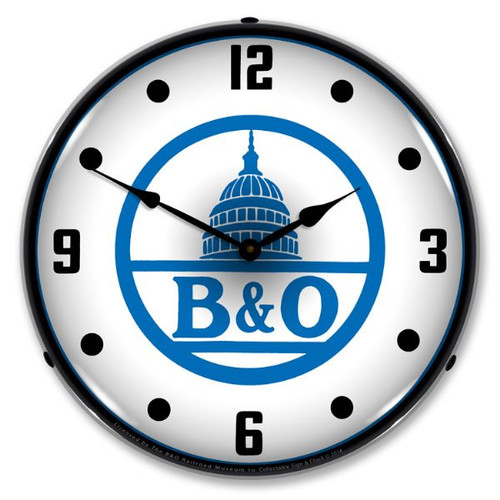 B&O Railroad 2 Lighted Wall Clock 14 x 14 Inches