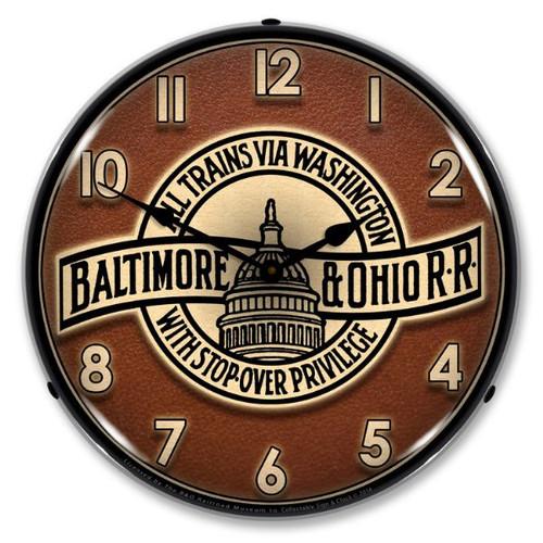 B&O Railroad 3 Lighted Wall Clock 14 x 14 Inches