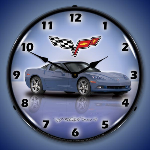 C6 Corvette Supersonic Blue Lighted Wall Clock 14 x 14 Inches