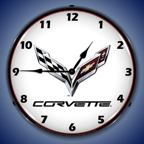 C7 Corvette Lighted Wall Clock 14 x 14 Inches