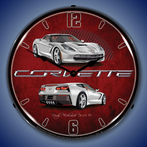 C7 Corvette Blade Silver Lighted Wall Clock 14 x 14 Inches