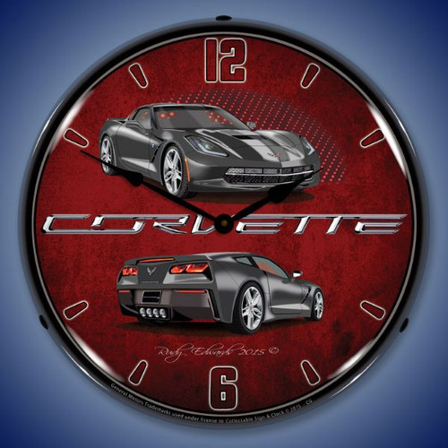 C7 Corvette Cyber Grey Lighted Wall Clock 14 x 14 Inches