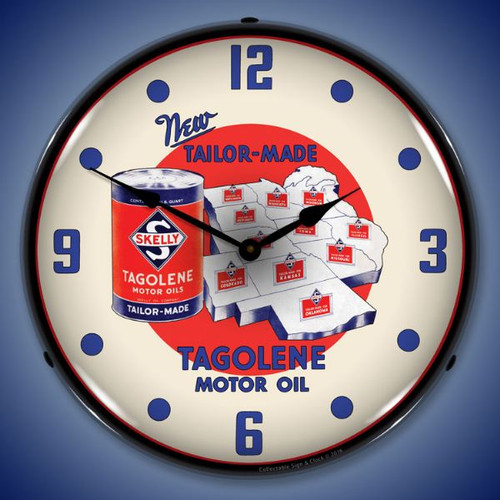 Skelly Motor Oil Lighted Wall Clock 14 x 14 Inches