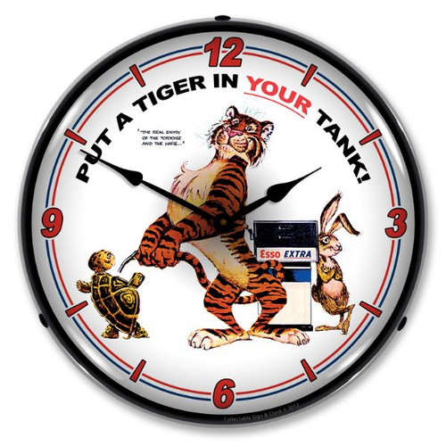 Esso Tiger Lighted Wall Clock 14 x 14 Inches