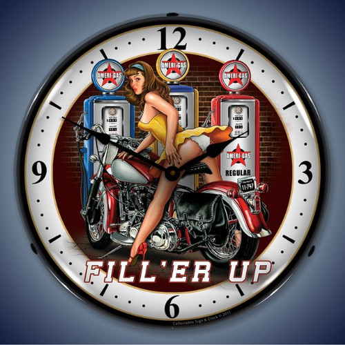 Fill er Up Lighted Wall Clock 14 x 14 Inches