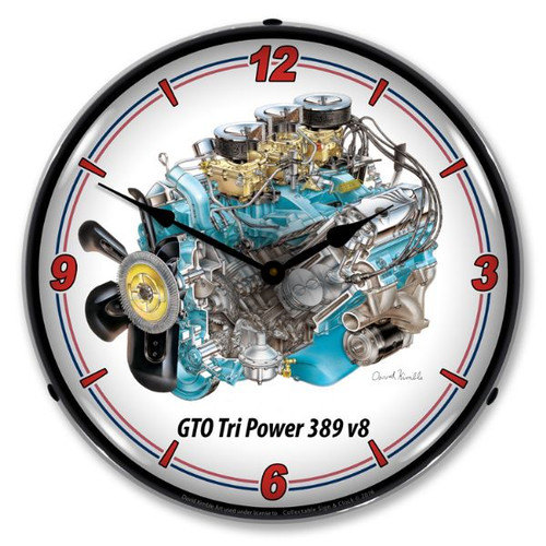 GTO Tri Power V8 Lighted Wall Clock 14 x 14 Inches