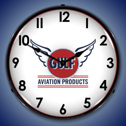 Gulf Avaition Lighted Wall Clock 14 x 14 Inches