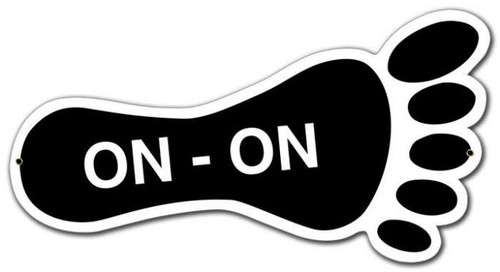 Retro On-On Foot Custom Shape Metal Sign 15 x 8 Inches