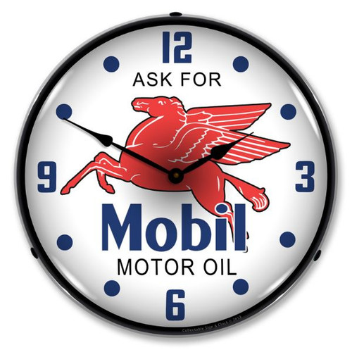 Mobil Oil Lighted Wall Clock 14 x 14 Inches