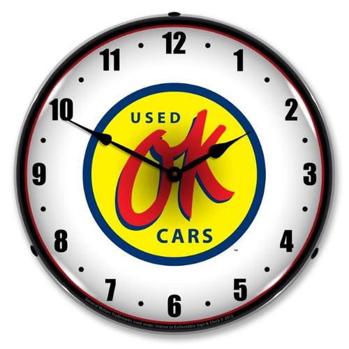 OK Used Cars Lighted Wall Clock 14 x 14 Inches