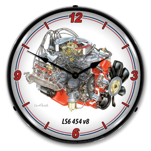 LS6 454 V8 Lighted Wall Clock 14 x 14 Inches