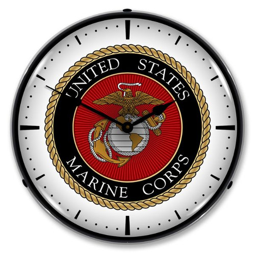 US Marine Corps Lighted Wall Clock 14 x 14 Inches