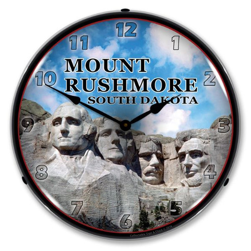 Mount Rushmore Lighted Wall Clock 14 x 14 Inches