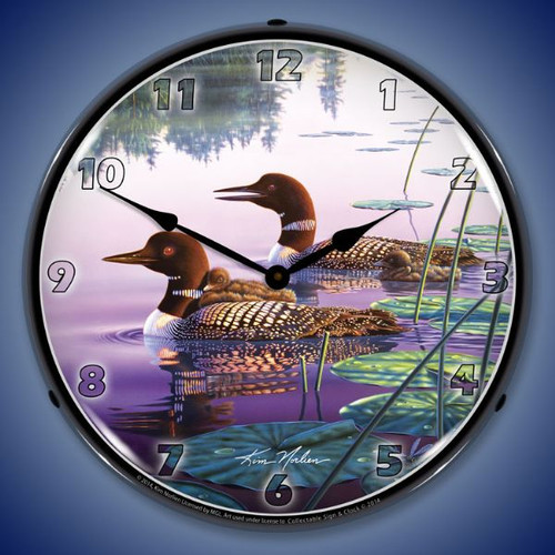Northern Splendor Loons Lighted Wall Clock 14 x 14 Inches