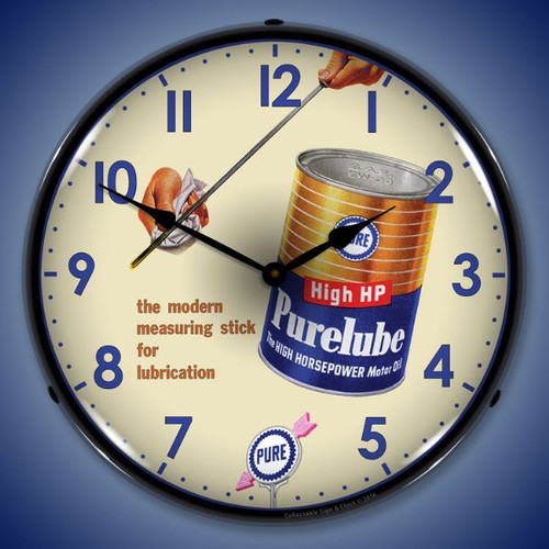 Purelube Oil Lighted Wall Clock 14 x 14 Inches