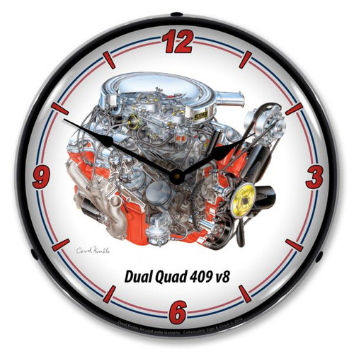 Dual Quad 409 v8 Lighted Wall Clock 14 x 14 Inches