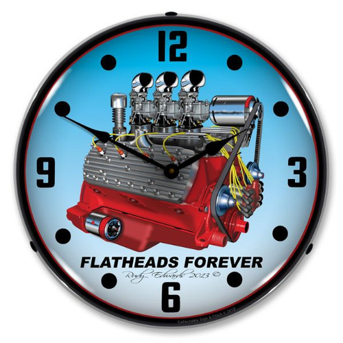Flathead V8 Lighted Wall Clock 14 x 14 Inches