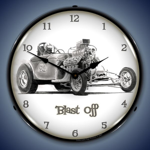 Blast Off Lighted Wall Clock 14 x 14 Inches