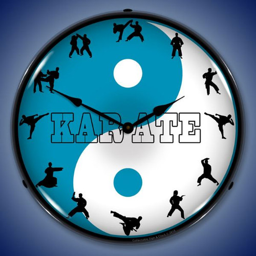 Karate Lighted Wall Clock 14 x 14 Inches
