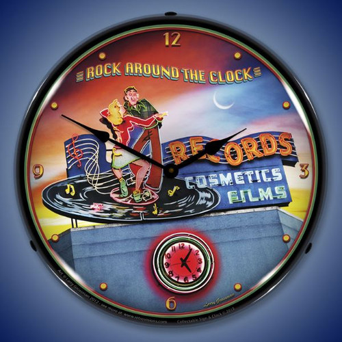 Rock Around the Clock Lighted Wall Clock 14 x 14 Inches