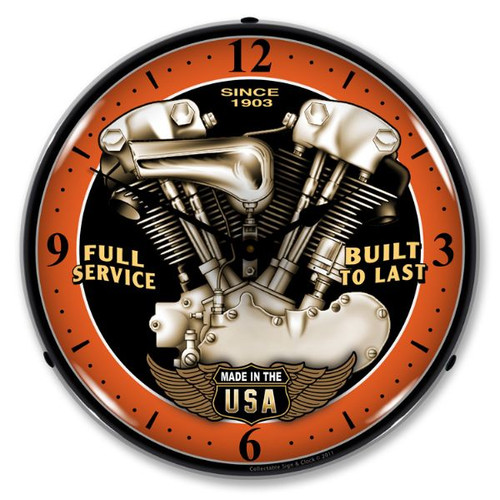 V Twin Lighted Wall Clock 14 x 14 Inches