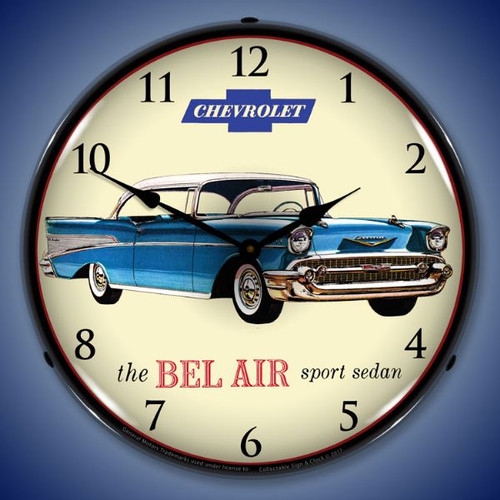 1957 Chevrolet Bel Air Lighted Wall Clock 14 x 14 Inches