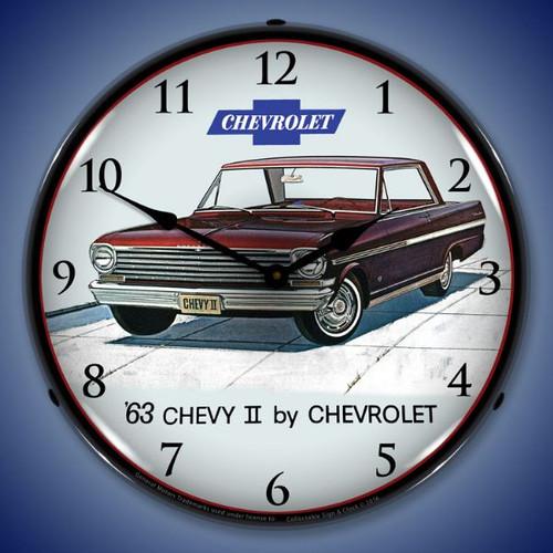 1963 Chevy II Nova Super Sport Lighted Wall Clock 14 x 14 Inches