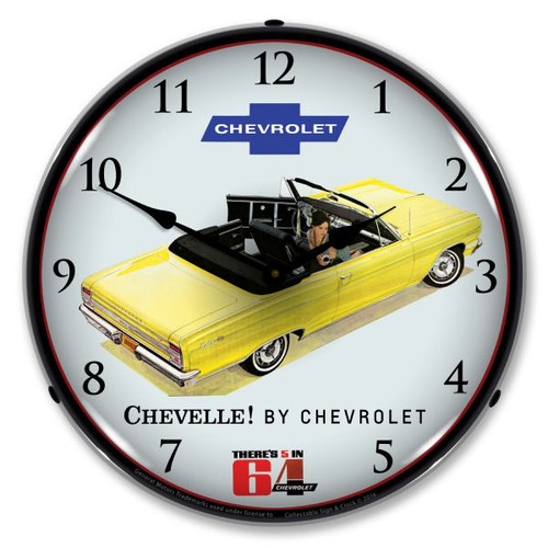 1964 Chevelle Convertible Lighted Wall Clock 14 x 14 Inches
