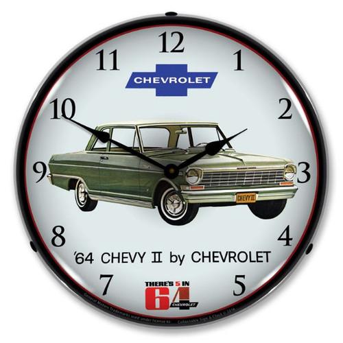 1964 Chevy II Nova Lighted Wall Clock 14 x 14 Inches