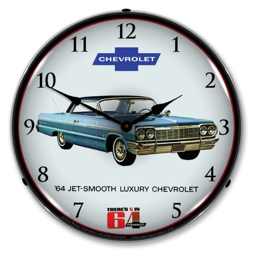 1964 Impala Lighted Wall Clock 14 x 14 Inches