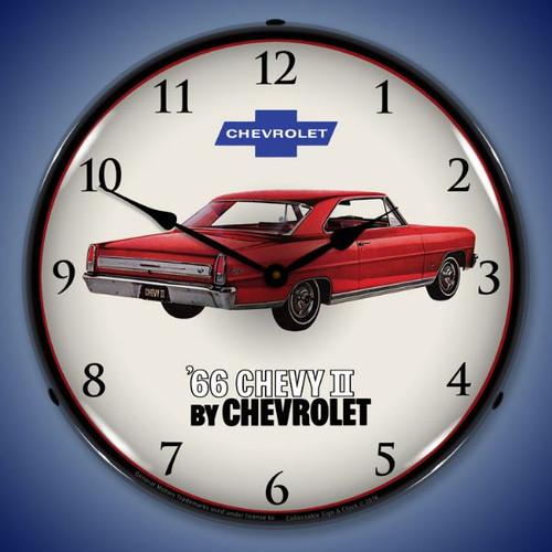1966 Chevy II Nova Super Sport  Lighted Wall Clock 14 x 14 Inches