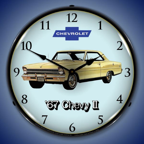 1967 Chevy II Nova Super Sport Lighted Wall Clock 14 x 14 Inches