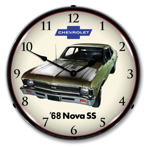 1968 Nova Super Sport Lighted Wall Clock 14 x 14 Inches