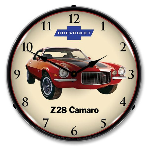 1972 Z28 Camaro Lighted Wall Clock 14 x 14 Inches