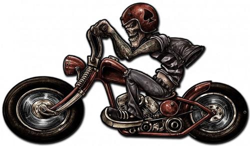 Skull Biker Metal Sign 24 x 14 Inches