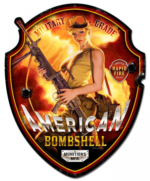 American Bombshell XL  Pinup Girl Metal Sign 23 x 28 Inches