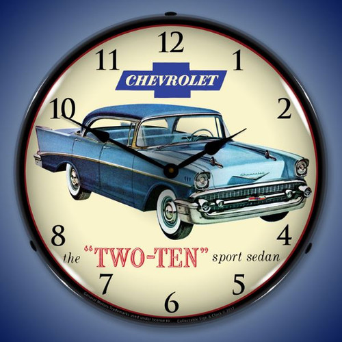 1957 Chevrolet Two Ten Lighted Wall Clock 14 x 14 Inches