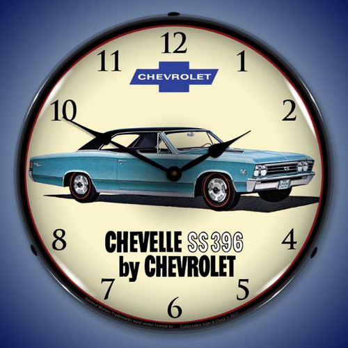 1967 Chevelle SS 396 Lighted Wall Clock 14 x 14 Inches