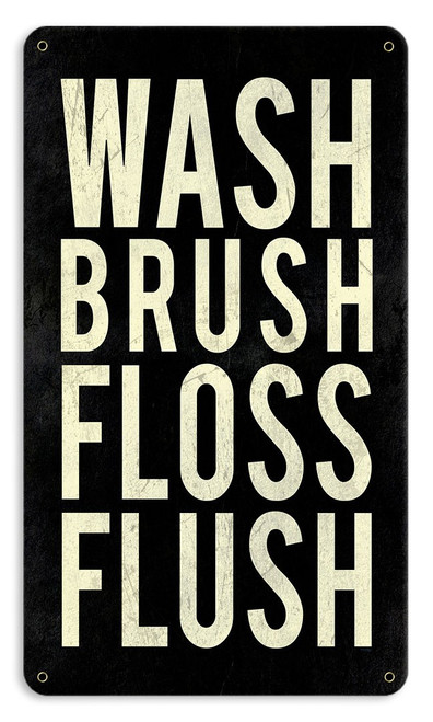 Wash Powder Room Metal Sign 8 x 14 Inches