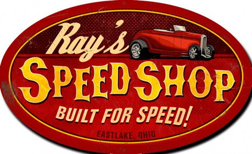 Speed Shop Oval X-LARGE Metal Sign - Personalized 42 x 30 Inches