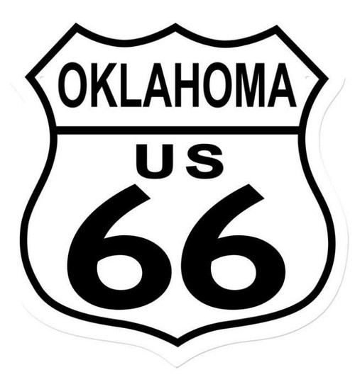 Retro Route 66 Oaklahoma Shield Metal Sign 15 x 15 Inches
