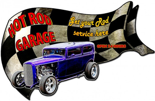 Hot Rod Garage Metal Sign 30 x 18 Inches