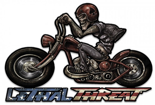 Motorcycle Skull Left Metal Sign 24 x 16 Inches