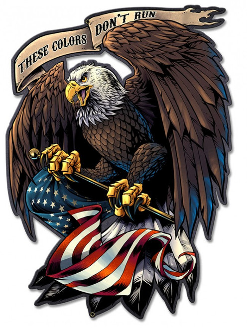 Eagle Holding Flag Metal Sign 17 x 12 Inches