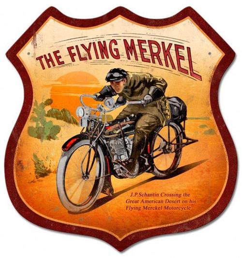 Retro Flying Merkel Shield Metal Sign 15 x 15 Inches