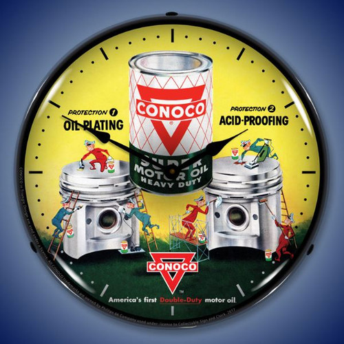 Conoco Motor Oil Lighted Wall Clock 14 x 14 Inches