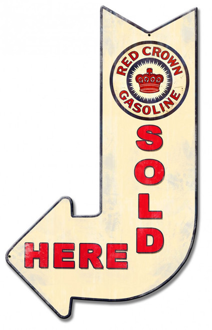 Red Crown Gasoline Sold Here Arrow Metal Sign 15 x 24 Inches