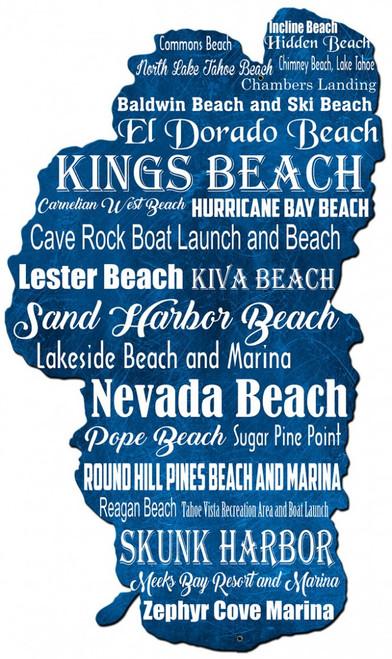 Lake Tahoe Beaches Metal Sign 18 x 30 Inches
