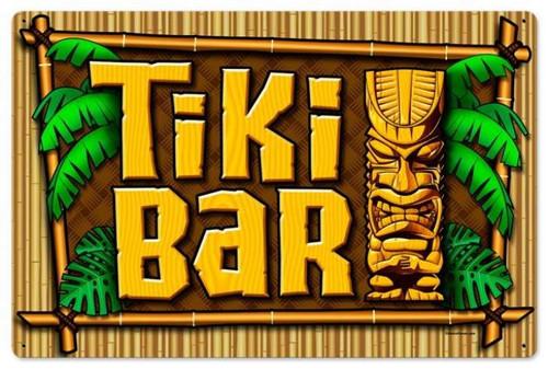 Retro Tiki Bar Metal Sign 24 x 16 Inches