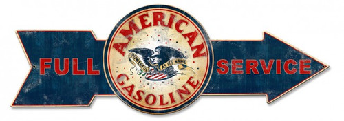 Full Service American Gasoline Arrow Metal Sign 32 x 11 Inches